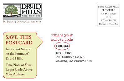 Survey postcard address code